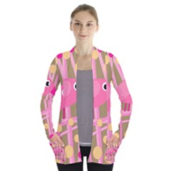 Pink bird Women s Open Front Pockets Cardigan(P194)