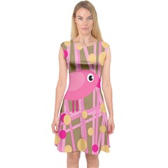 Pink bird Capsleeve Midi Dress