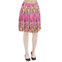 Pink Bird Pleated Skirt