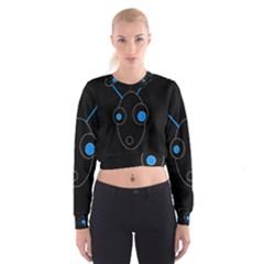 Blue alien Women s Cropped Sweatshirt