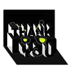 Yellow alien THANK YOU 3D Greeting Card (7x5)