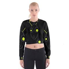 Yellow alien Women s Cropped Sweatshirt