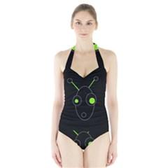 Green alien Halter Swimsuit