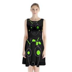 Green alien Sleeveless Waist Tie Dress