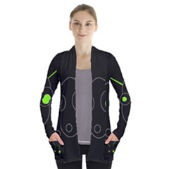 Green alien Women s Open Front Pockets Cardigan(P194)