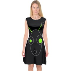 Green alien Capsleeve Midi Dress