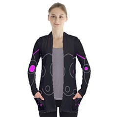 Purple alien Women s Open Front Pockets Cardigan(P194)
