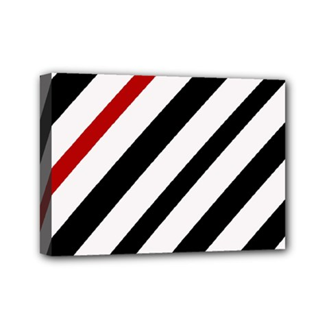 Red, black and white lines Mini Canvas 7  x 5
