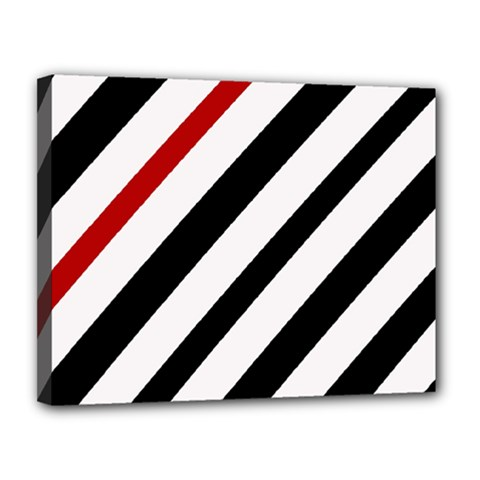 Red, black and white lines Canvas 14  x 11