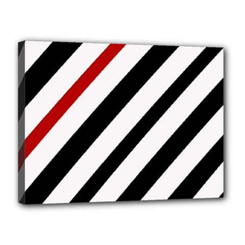 Red, black and white lines Canvas 16  x 12