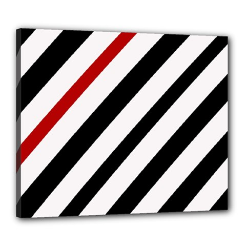 Red, black and white lines Canvas 24  x 20