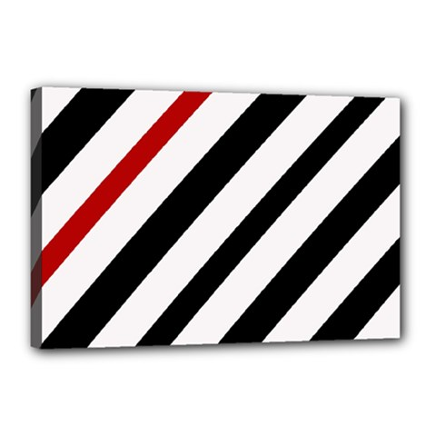 Red, black and white lines Canvas 18  x 12