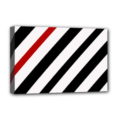 Red, black and white lines Deluxe Canvas 18  x 12