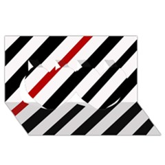 Red, black and white lines Twin Hearts 3D Greeting Card (8x4)