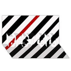 Red, black and white lines BEST SIS 3D Greeting Card (8x4)