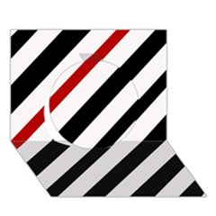 Red, black and white lines Circle 3D Greeting Card (7x5)