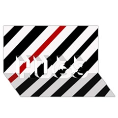 Red, black and white lines HUGS 3D Greeting Card (8x4)