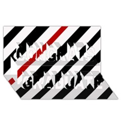 Red, black and white lines Congrats Graduate 3D Greeting Card (8x4)