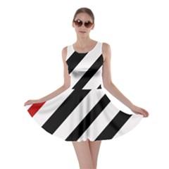 Red, black and white lines Skater Dress