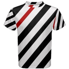 Red, black and white lines Men s Cotton Tee