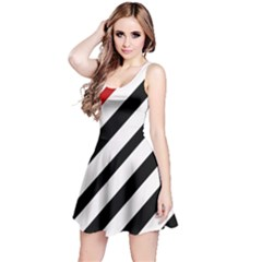 Red, black and white lines Reversible Sleeveless Dress