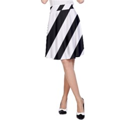 Red, black and white lines A-Line Skirt
