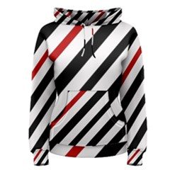 Red, black and white lines Women s Pullover Hoodie