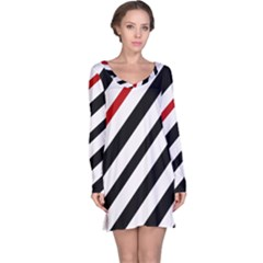 Red, black and white lines Long Sleeve Nightdress