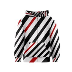 Red, black and white lines Kids  Zipper Hoodie