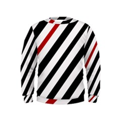 Red, black and white lines Kids  Sweatshirt