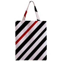 Red, black and white lines Zipper Classic Tote Bag