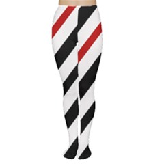 Red, black and white lines Women s Tights