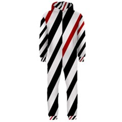 Red, black and white lines Hooded Jumpsuit (Men)