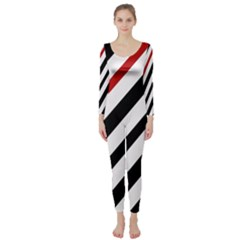 Red, black and white lines Long Sleeve Catsuit