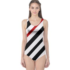 Red, black and white lines One Piece Swimsuit