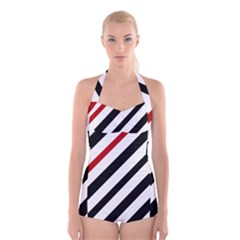 Red, black and white lines Boyleg Halter Swimsuit