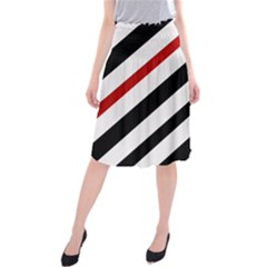 Red, Black And White Lines Midi Beach Skirt