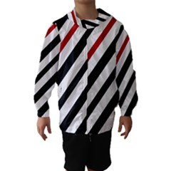 Red, Black And White Lines Hooded Wind Breaker (kids)