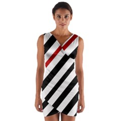 Red, black and white lines Wrap Front Bodycon Dress