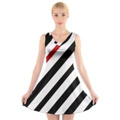 Red, black and white lines V-Neck Sleeveless Skater Dress