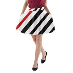 Red, black and white lines A-Line Pocket Skirt