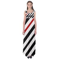 Red, black and white lines Empire Waist Maxi Dress