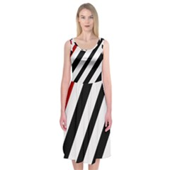 Red, Black And White Lines Midi Sleeveless Dress