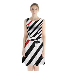 Red, black and white lines Sleeveless Waist Tie Dress