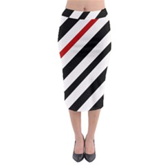 Red, black and white lines Midi Pencil Skirt
