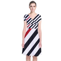 Red, black and white lines Short Sleeve Front Wrap Dress