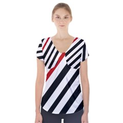 Red, black and white lines Short Sleeve Front Detail Top