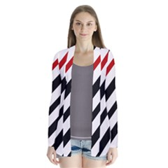 Red, Black And White Lines Drape Collar Cardigan