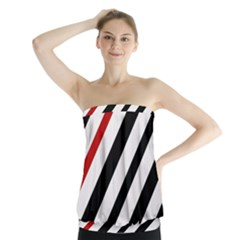 Red, black and white lines Strapless Top