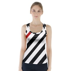 Red, black and white lines Racer Back Sports Top